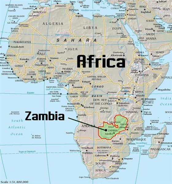 Республика Замбия на карте