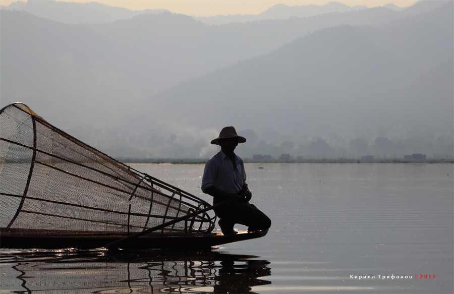 Рыбак на озере Инле