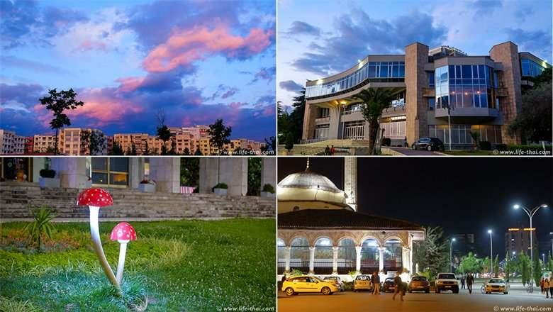 Фото ночной Тираны, достопримечательности Албании