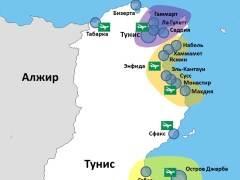 Карта Туниса с курортами
