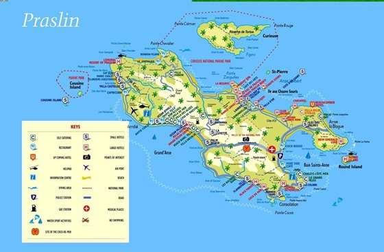 Детальная карта острова Праслин 1