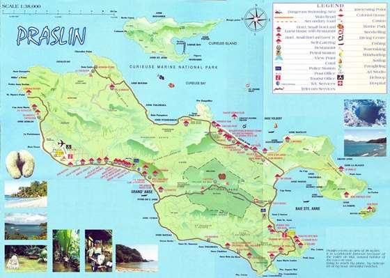 Подробная карта острова Праслин 2