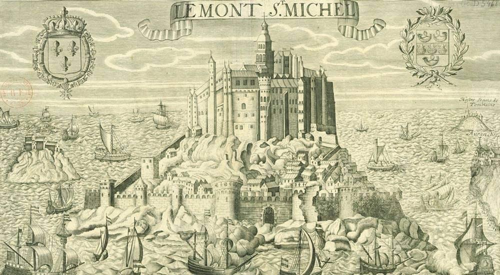 Остров Сен-Мишель, гравюра 17-го века из Национальной библиотеки Франции