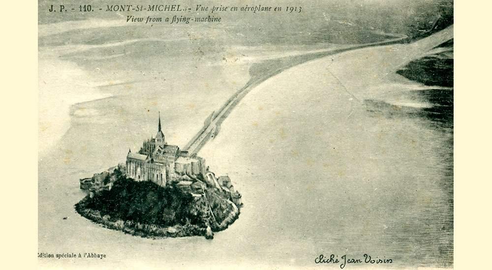 Фото Мон-Сен-Мишель, сделанное с борта аэроплана в 1913 году