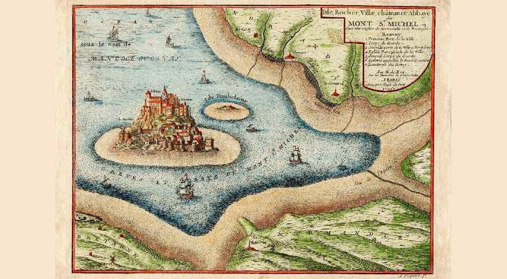 Карта залива Мон-Сен-Мишель, датируемая 1705 годом