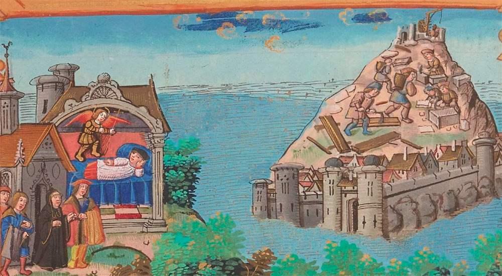 Изображение из рукописи 16 века: слева Святой Михаил появляется во сне епископу Оберу, справа — строительство церкви