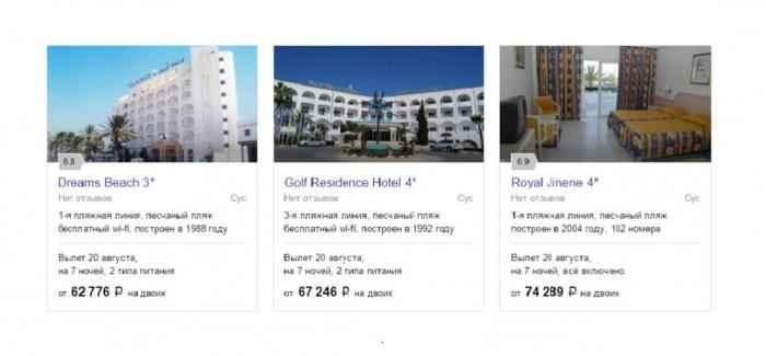 сортируем отели по цене