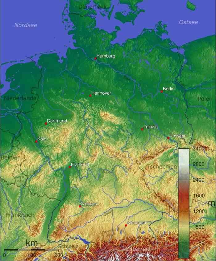 Карта Германии с городами на русском языке подробная. Земли с границами Чехии, Польши, Австрии, Швейцарии